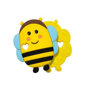 Atacado de Natal bonito da abelha do bebê Silicone Teether Colar Pulseira BPA DIY dentição Enfermagem autismo Sensorial Toy chupeta cadeia de dom