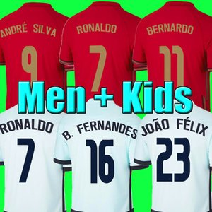 호나우두 축구 유니폼 JOAO FELIX 2020 2021 포르투갈 페르난데스 축구 셔츠 20 21 MEN + KIDS 균일 한 소년의 청소년을 설정