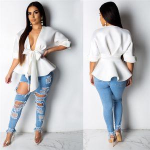 Ruffled Mulheres Blusas Cardigan Metade luva V Neck soltas shirt longos da luva branca Sexy Mulheres Camisas com Caixilhos