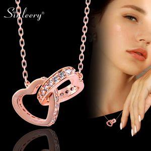 Colar Pingente SINLEERY elegante duas ocas Cruz do coração Rosa de Ouro Cor Prata Cristal Choker colar de jóias mulheres XL104 SSI