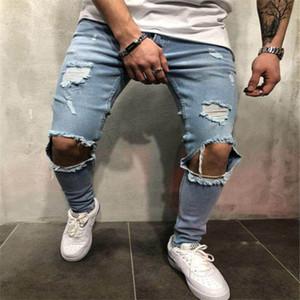 2020 Europea y los pantalones vaqueros americanos nuevo estilo arrancó los pantalones slim de los hombres del dril de algodón de alta calidad de la venta caliente cepillado tamaño de los pantalones vaqueros de agua S-4XL