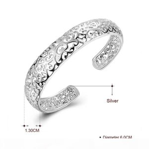 A Diamond Ring Classic Real 925 Sterling Silver Bracelets &Bangles For Women Fashion Charm Jewelry Open Cuff Bangle B144