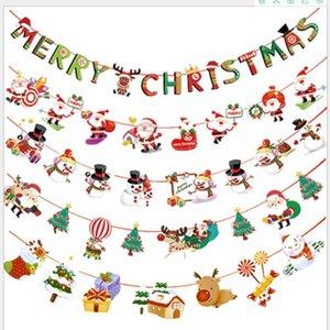3m de papel Banderas de la Navidad que cuelgan las banderas de Santa Claus muñeco de nieve el árbol de Navidad ciervos Garland Bunting Merry Christmas Decoración para el hogar