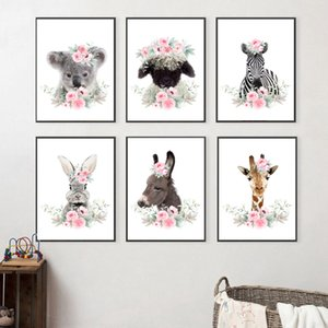Koala Giraffe Rabbit Sheep Zebra Nursery Wall Art Print Canvas Painting Nordic Posters And Prints Wall Pictures Kids Room Decor