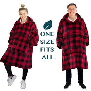 Flannel Hoodie 담요 따뜻한 부드러운 가운 운동복 풀오버 벨벳 두꺼운 담요 한 크기 모두 모두 남성 여성 후드 코트