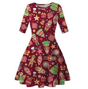 Women Knee Length Dress Christmas Trees Snowflower Printed Tunic Dresses Ladies Half Sleeve Slimming Skirt Xmas Party Dress Clothes D9304