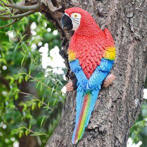 Reçine Parrot Heykeli Duvar DIY Açık Bahçe Ağacı Dekorasyon Hayvan Heykel Süs Sağa Doğru Monteli