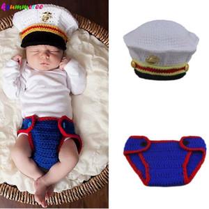 Ksummeree USMC bebê recém-nascido Crochet Outfit Marines de vestido azuis Inspirado suporte da foto para o bebê Marine Corps Costume H303