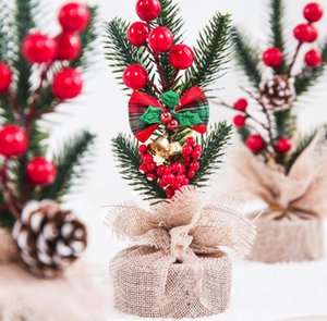 20cm Small Decorated Christmas Tree Fake Pine Tree Mini Artificial Christmas Tree Santa Snow Home Decoration