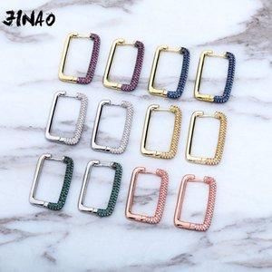 JINAO NEW CZ 힙합 도금 높은 품질의 성격 아이스 가운데 6 색 사각형 귀걸이 남성과 여성 보석