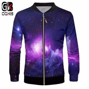 Vestes d'homme OGKB copie pourpre Galaxy 3D Space Zip manteau de veste de l'homme Hiphop Outwear Collier Slim Fit stand manches longues Cardigan