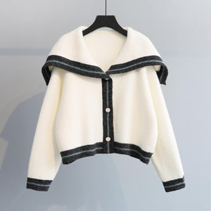20200909 Fall new loose college short Sweater Cardigan Jacket Navy collar T-shirt