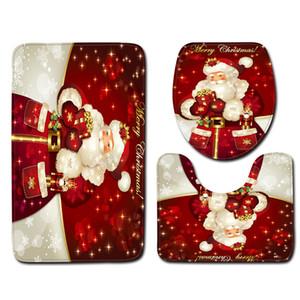 3 Pièces Décoration de Noël Couverture durable Non-Slip impression polyester HD Tapis de bain Kit douche Tapis de siège de toilette