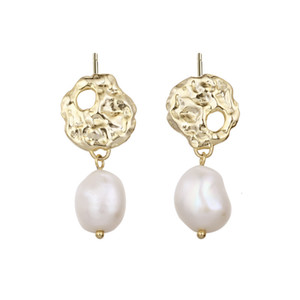Pearl 925 Sterling Silver Drop Earrings For Women Baroque Irregularity Gold Bohe Summer Earring Pendientes Mujer Moda Jewelry