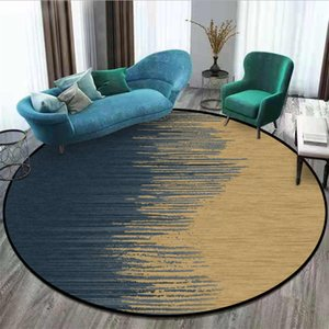 Home Living Room Rugs and Rugs Nordic Abstract Blue Gold Pattern Non-Slip Round Rug Christmas Rug 100% Polyester Fiber