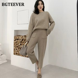 Casual Sweater Tracksuit O-neck Pullovers & High Waist Pants Women Sweater Sets Knitted Set Autumn Winter Knitted 2 Pieces Set 200923