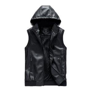 Idopy hiver chaud Men`s Biker faux cuir Gilet à capuche en molleton PU Fausse veste sans manches en cuir Sweat à capuche avec fermeture éclair