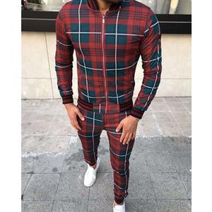 2020 господа господа трексуита мода спортивный костюм мужчины бренд плед молния толстовка + спортивные штаны мужская одежда 2 части наборы