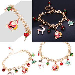Braccialetto di monili di Natale delle donne vendita calda Babbo Natale Oro Charm Bracelet dei bambini scherza il bambino di catena per il regalo di Natale
