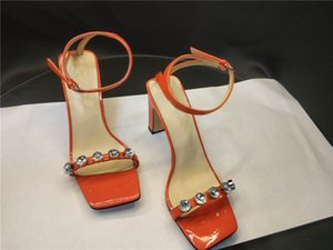 Hot sale square toe thick heel summer sandals diamond ankle straps high heel dress shoes genuine leather fashion single shoes