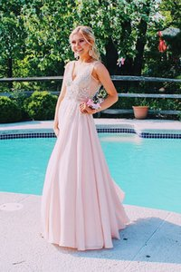 Gorgeous V Neck Evening Gowns Women Chiffon A-line Party Dress for Special Occations Pageant Prom Dresses Custom Made