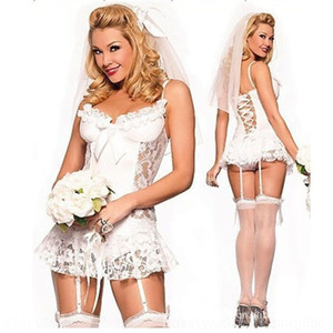 nJHcD lace underwear Lace wedding dress white underwear bridal with wedding suit dress garterperspective sexy pajamas 0166