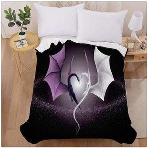 Purple Dragon Heart Home Decoration Printing Velvet Plush Throw Blanket Comfort Design Fleece Blanket gfghfg
