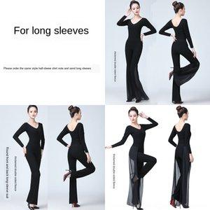 B747k corpo pantaloni a maniche corte formazione pantaloni della tuta del costume adulto tromba Abito corno danza nero passerella moderna tromba sciolto summ delle donne