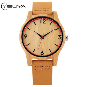 YISUYA Bambusholz Uhren Minimalist Frauen-Uhr-echtes Leder-Armbanduhr Mode-Quarz-Bewegung Weibliche Uhr Geschenke reloj