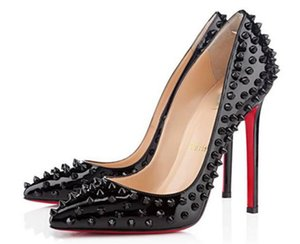 Shoes Christian CL Louboutin New Women Pumps Pointed Toe Red Bottom High Heels Shoes Luxury Designer Rivets Shoes Red So fzU