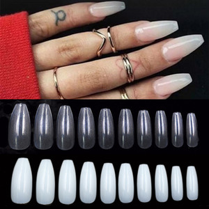 Professional 500pcs Bag Ballerina Fake Nail Art Tips Clear Nature False Coffin Nails Art Tips Flat Shape Full Cover Manicure Set