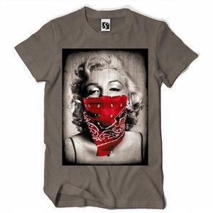 T-shirt da uomo Exclusive - Marilyn Monroe viso sciarpa di disegno (SB241)