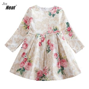 Baby girl long sleeves dress new late autumn  printed cotton double fabric children's clothing girl dress WL171 0924