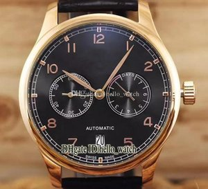 Hohe Qualität Hersteller Cgjxs preiswerte neue Portugieser Iw500125 Zifferblatt schwarz Roségold 7 Tage Gangreserve Automatik Herren-Uhr-Leder St