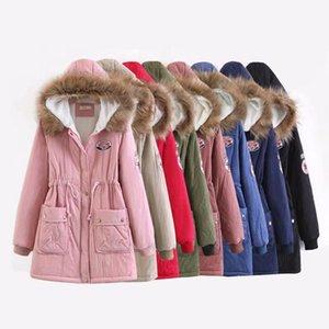 Joineles de piel con capucha Chaquetas Espesar delgada de las mujeres abrigos Parka acolchada de algodón Outwear el lazo de la cintura bolsillos de felpa Coats Nueva
