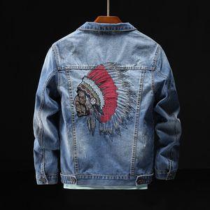 denim 6WOMF uomo Indian Coffee ricamato giacca alla moda d'avanguardia hip caffè giacca di jeans sciolto ricamato hop casuale