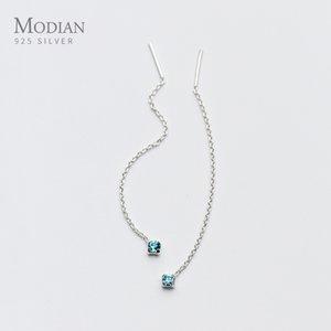 Modian Long Tassel Chain Colorful Crystal Dangle Earrings for Women Hot Sale Ear Studs Jewelry 925 Sterling Silver Orecchini