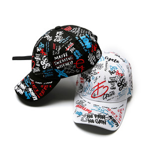 luxury- Spring graffiti printing baseball cap Child parent hat Long tail hip-hop hat Wholesale cap