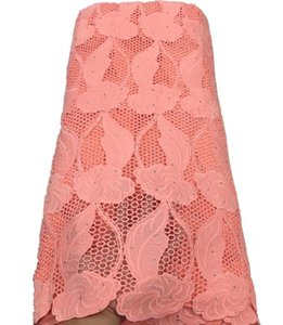 Африканский шнура ткань шнурка с камнями Обметывание отверстия Водорастворимая Lace тюль ткань нигерийского TS9522