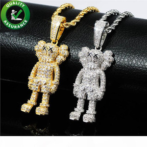 Iced Out Pendant Hip Hop Jewelry Mens Luxury Designer Necklace Bling Diamond Cartoon Dolls Pendants Hiphop Fashion Charms Rapper Accessories