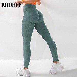 RUUHEE senza giunte Legging Pantaloni Abbigliamento sportivo Solid Lunghezza allenamento vita alta completo per fittness Leggings Yoga