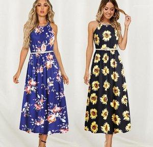 Sleeveless Sashes Designer Vestidos Clothes Women Floral Dress Summer Beach Boho Maxi Long Dresses
