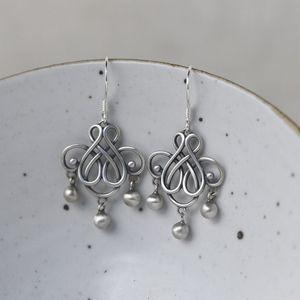 WruQF d'oro dei cervi re S925 argento opaco di buon auspicio nodo cinese delle donne e orecchini cinese Knot Tassel orecchini
