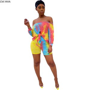 2020 Women Sets Summer Tracksuits Tie-dye Print Tops+Shorts Suit Two Piece Set Night Club Party 2 Pcs Beach Outfits Street GL007 X0924