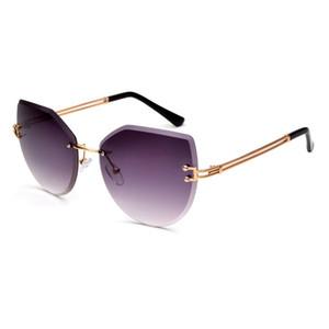 KEEPIONEER Randlos-Sonnenbrille-Frauen-Schutzbrillen Aufmaß Diamant-Ausschnitt-Objektiv Marke Designer Shades Gradient Metall Lady Sonnenbrille