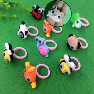 50pcs lot Cute Cartoon Resin Animal Design Ring Funny Animal Eyes Can Move Toys New Creative Personality Simulation Toys