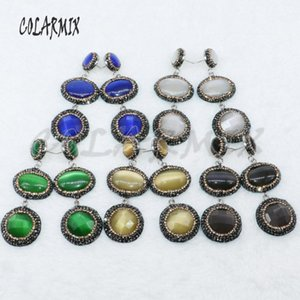 4Pairs Mix color Cat eye stone earrings pave rhinestone earrings natural stone Drop gift for lady 4887