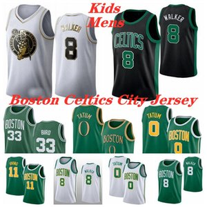 Kemba 8 Walker jersey Mens Kid Green Jayson 0 Tatum Bill 6 Russell Larry 33 Bird White 2020 BostonCelticsBasketball Jerseys XS-3XL