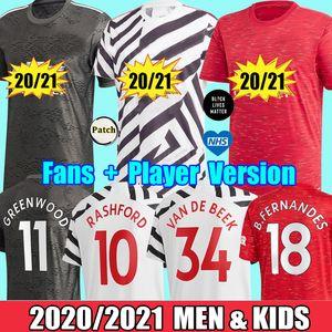 2021 Manchester Fans Spieler SANCHO van de beek Fernandes Greenwood Pogba vereint Fußball Jerseys 20 21 Rashford 2020 UTD-Fußballhemden Mann Kinder Kits