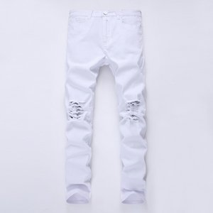 2020 New Fashion Men Holes white Jeans European High Street Motorcycle Biker Jeans Men Hip Hop Ripped Slim pants 12 colors